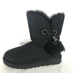 UGG Irina Star Charm Pom Pom Black Boots